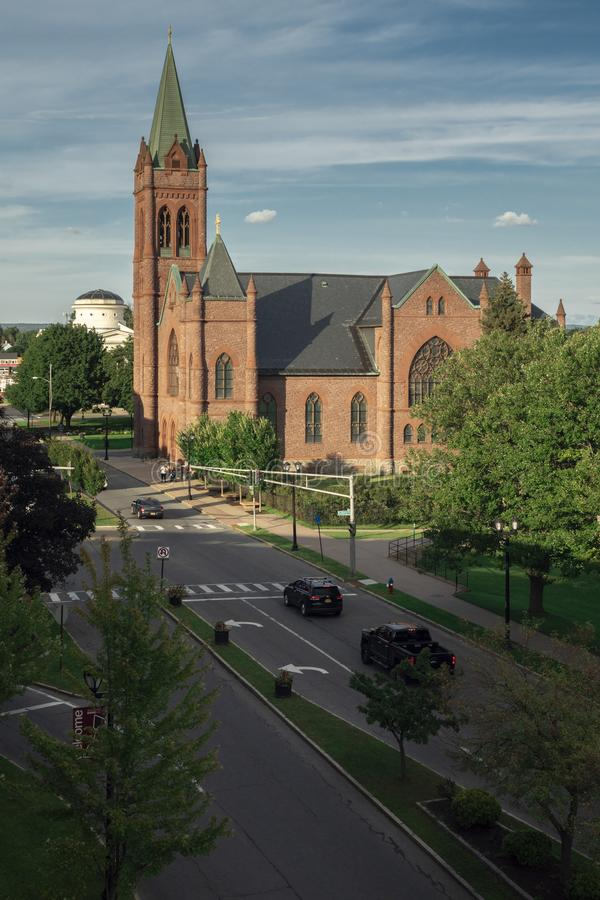ROME, NEW YORK, - SEP 05, 2019: Arial View of Saint Peter Church from Fort Stanwix roof, it is a Roman Catholic church located on stock photo