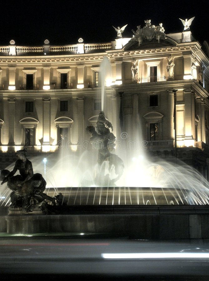Rome by night-fountain closeup royalty free stock photography