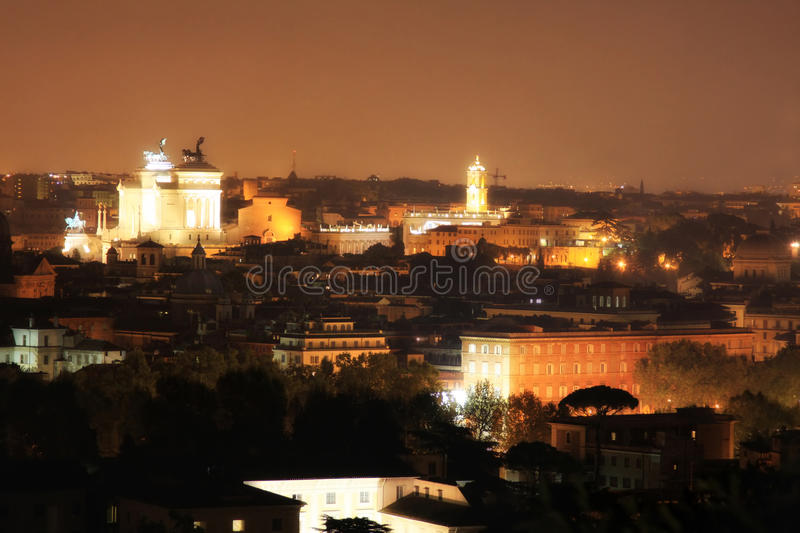 Rome at night from Gianicolo, Italy. View of panorama Rome at night from Gianicolo, Italy royalty free stock photo