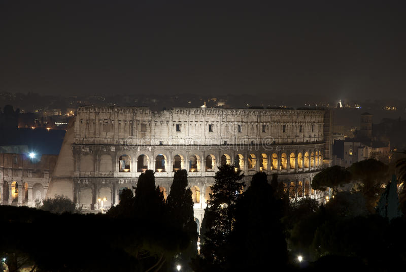 Rome by night. A view of Colosseo in Rome royalty free stock image