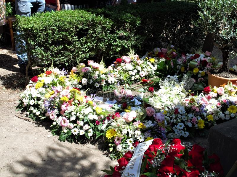 Rome non catholic cemetery. July 18,2019 non catholic cemetery the place full of flowers where today is buried Andrea Camilleri,writer author among other things royalty free stock image