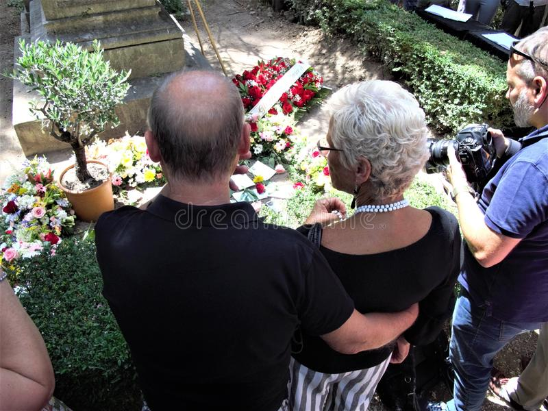 Rome non catholic cemetery. July 18,2019 non catholic cemetery the place full of flowers where today is buried Andrea Camilleri,writer author among other things stock image