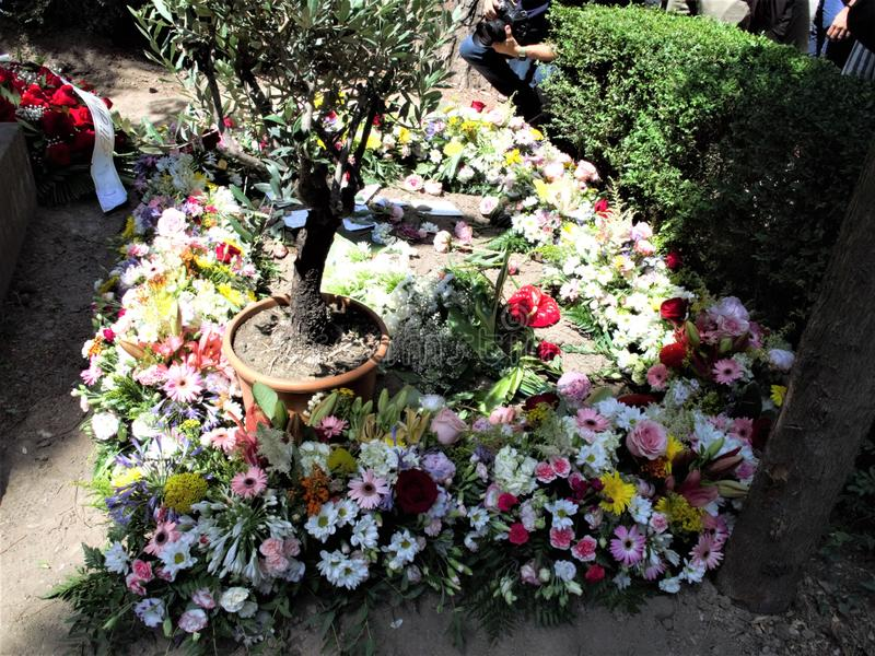 Rome non catholic cemetery. July 18,2019 non catholic cemetery the place full of flowers where today is buried Andrea Camilleri,writer author among other things royalty free stock photo