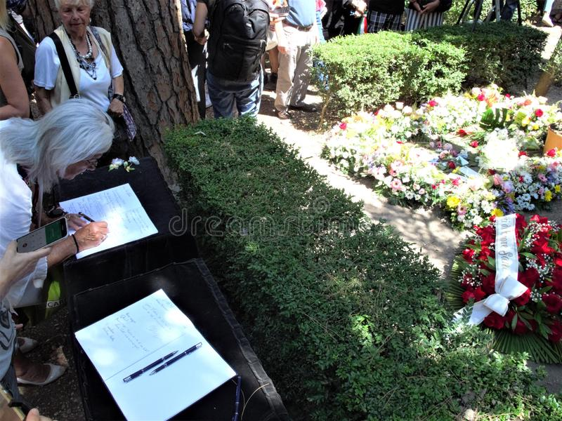 Rome non catholic cemetery. July 18,2019 non catholic cemetery the place full of flowers where today is buried Andrea Camilleri,writer author among other things stock photos