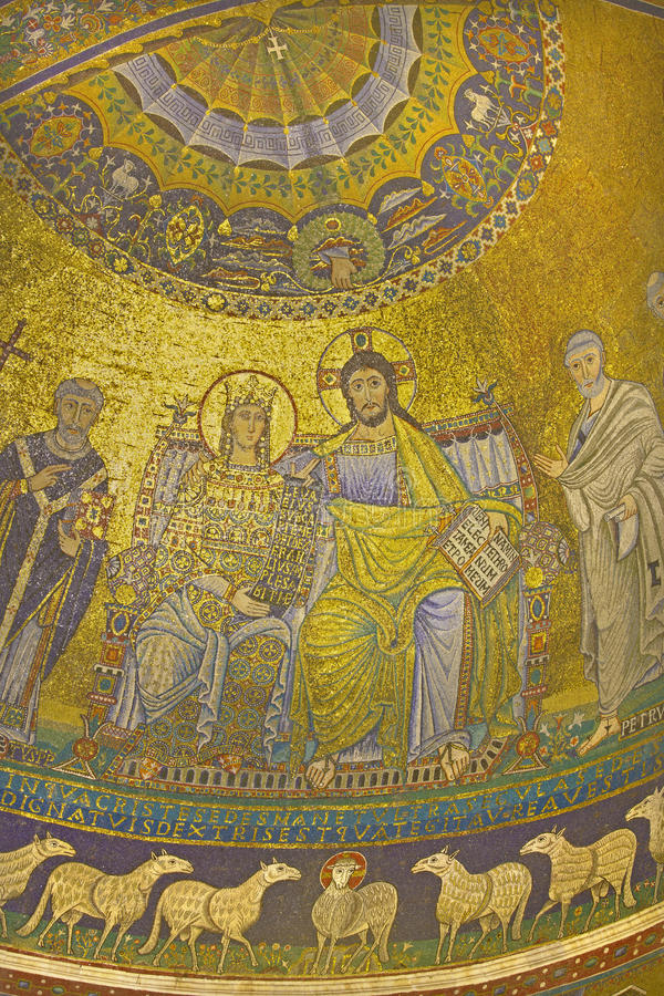Rome - Old mosaic Coronation of the Virgin from main Apse of Santa Maria in Trastevere church. From 13th-century by Pietro Cavallini stock image