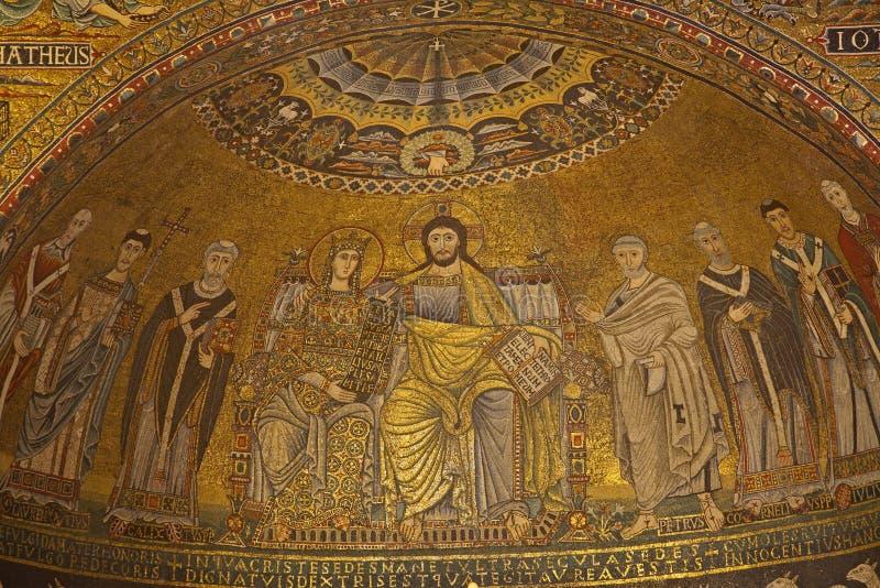 Rome - oude mozaik van Mary en Jesus royalty-vrije stock foto