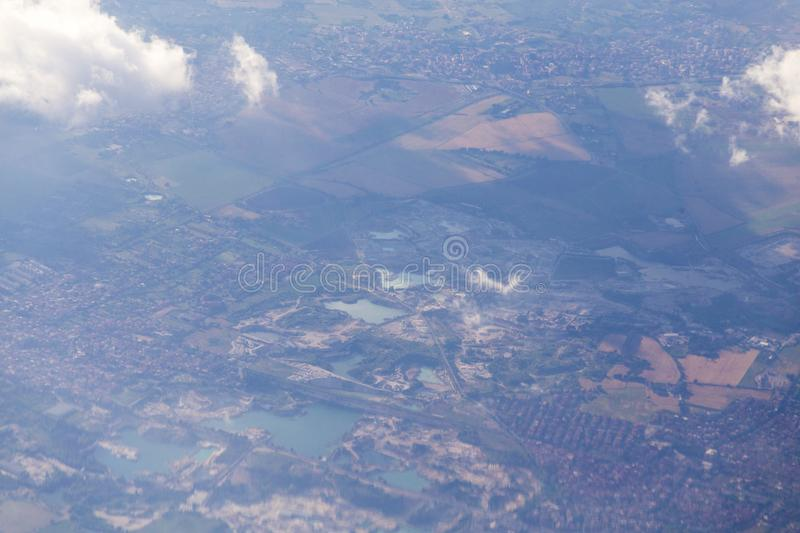 Rome outskirts. View from airplane, Italy royalty free stock photo