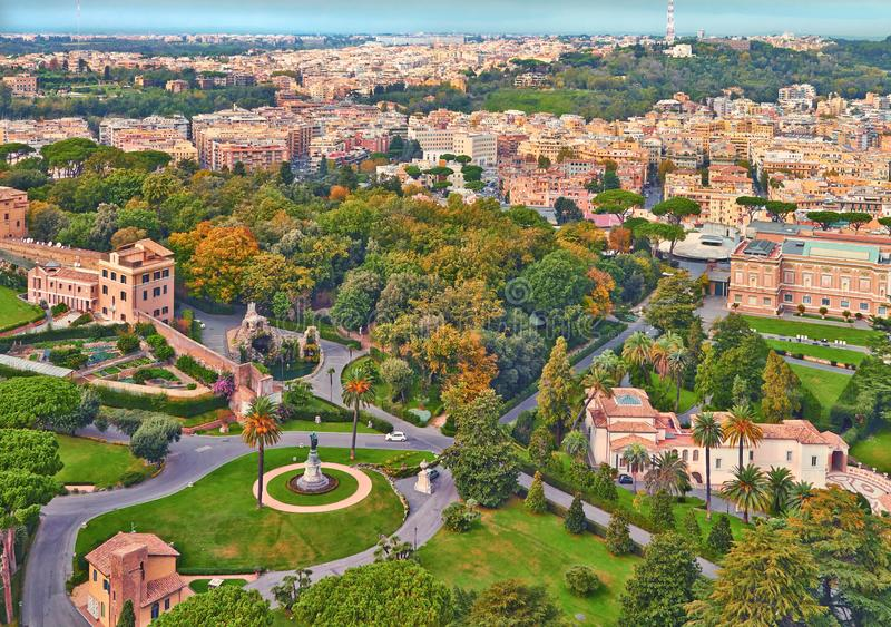 Rome panorama building evening. Rome rooftop view with ancient architecture in Italy stock photos