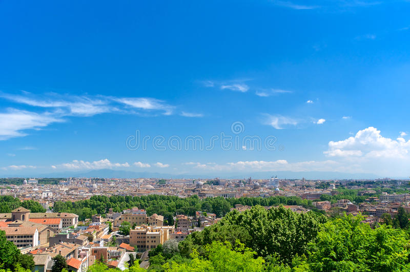 Rome, Panorama van Gianicolo, Italië stock fotografie