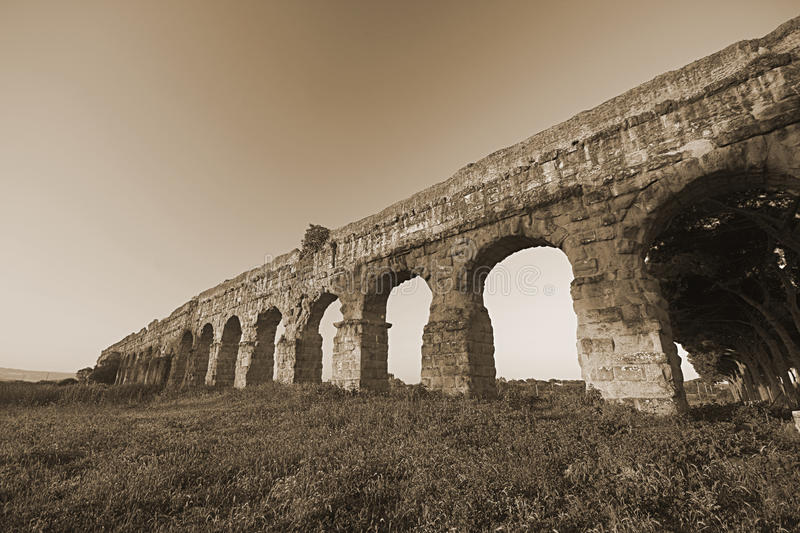 Rome: the park of aqueducts stock image