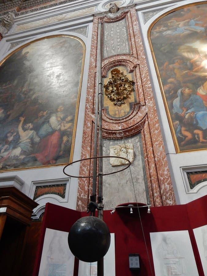 Rome - pendule dans la basilique des angélus et des martyres de degli de Santa Maria photo stock