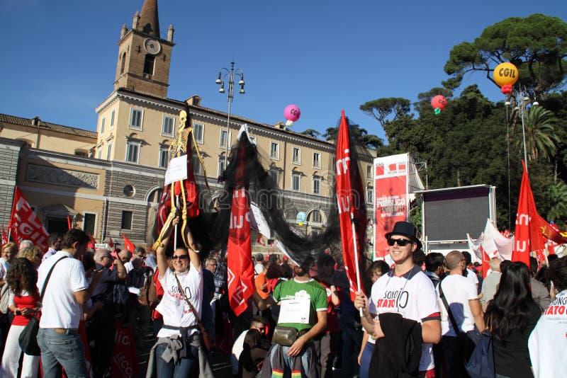 Rome-Piazza del popolo-CGIL nationale demonstratie royalty-vrije stock fotografie