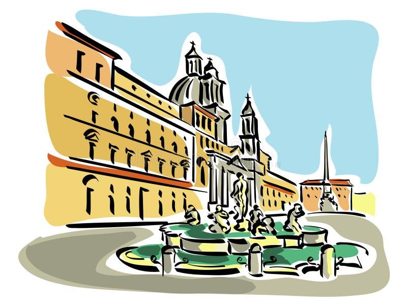 Download Rome (Piazza Navona) stock vector. Image of tourist, sculpture - 21395129