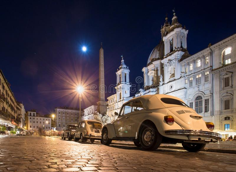 Rome, Piazza Navona at night royalty free stock image