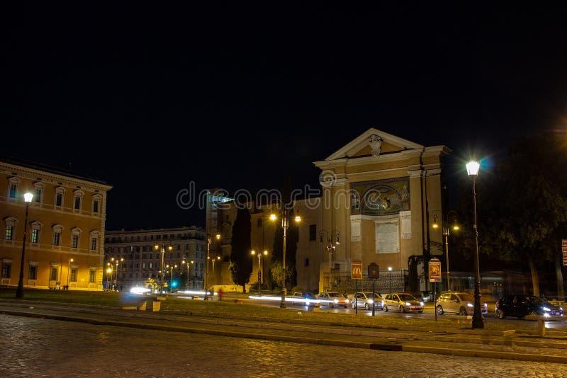 Rome, Piazza San Giovanni, van de ingangsdeur van de stad aan de basiliek, royalty-vrije stock foto