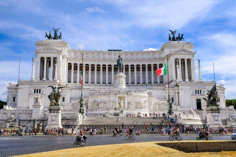 Rome piazza Venezia, Vittoriano Altare av den fädernesland- eller Altare dellaen Patria - monument av Victor Emmanuel 2, första k arkivbild