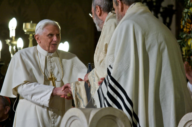 Rome/ Pope Benedictus XVI visit Synagogue of Rome royalty free stock images
