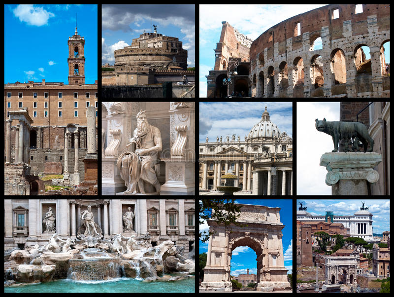 Rome postcard - collage royalty free stock photos
