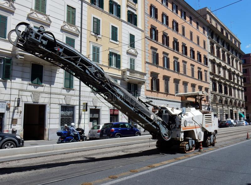 Rome - Road milling machine stock images