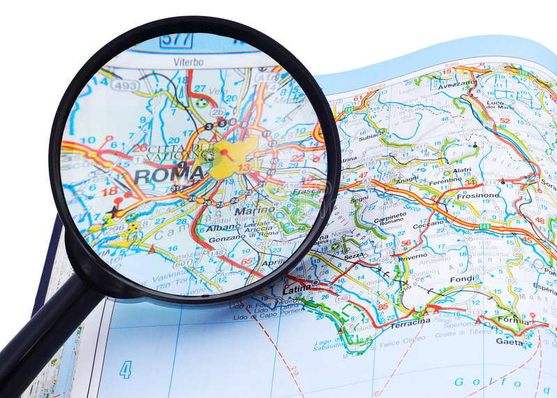 Download Rome - Roma map under lupe stock image. Image of transporting - 4787067
