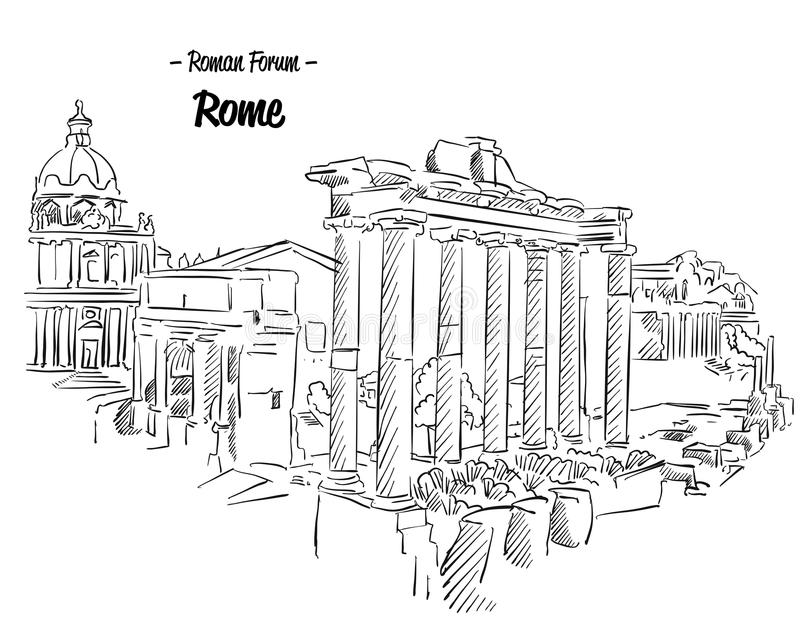 Rome Roman Forum Sketch Famous Landmark stock illustrationer