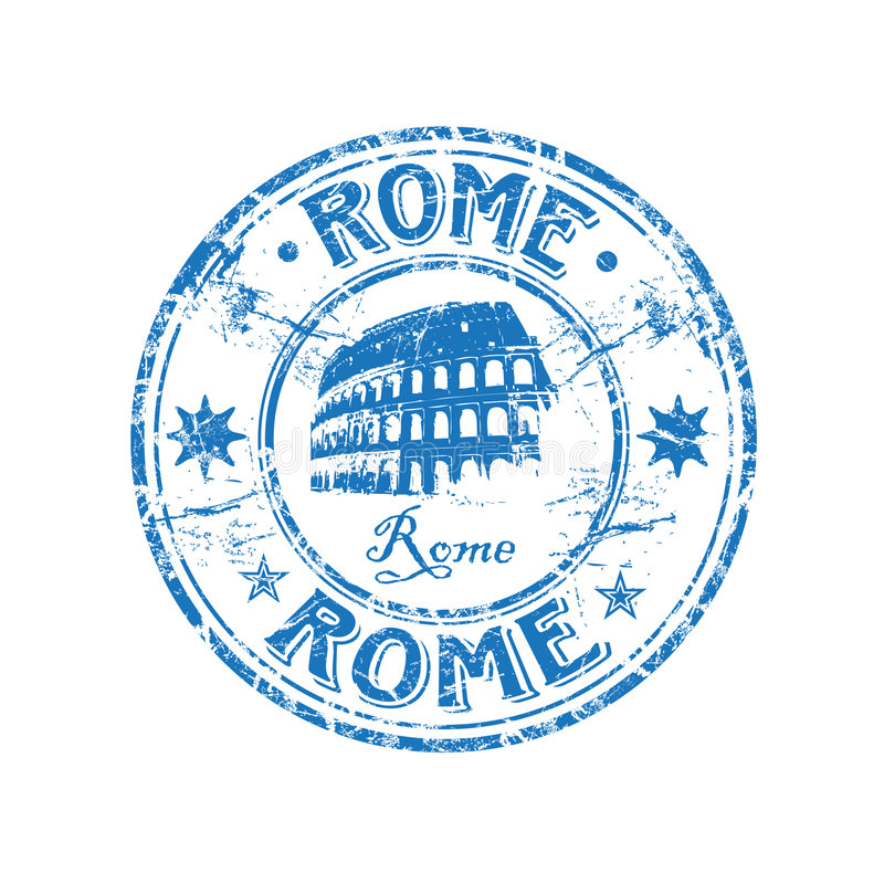 Rome rubber stamp. Blue grunge rubber stamp with the Colosseum shape from Rome, Italy
