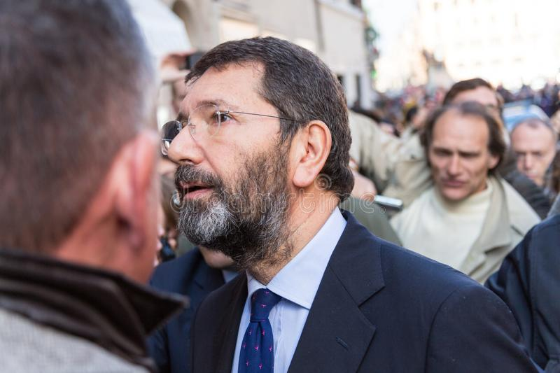 Rome`s Mayor on a Walkabout. Rome, Italy - February 20, 2015: The Mayor of Rome, Ignazio Marino, visited the Barcaccia Fountain at the foot of the Spanish Steps stock photo