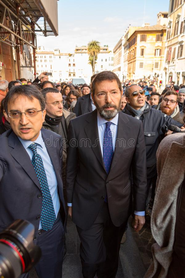 Rome`s Mayor on a Walkabout. Rome, Italy - February 20, 2015: The Mayor of Rome, Ignazio Marino, visited the Barcaccia Fountain at the foot of the Spanish Steps stock images