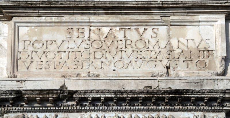 Rome's motto - Senatus Populusque Romanus royalty free stock photography