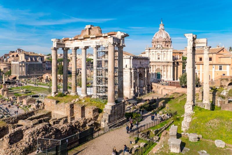 Rome`s Roman Forum landmark ruins stock images