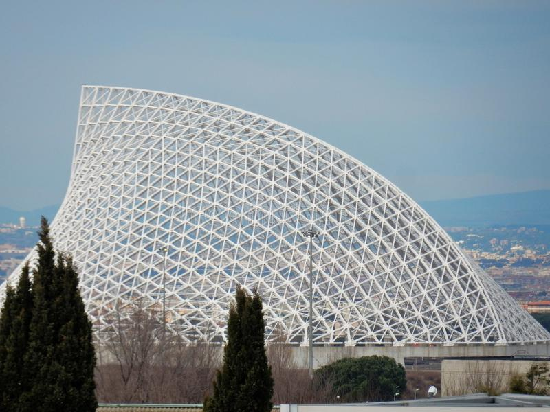 Rome - Sailing Calatrava. Rome, Lazio, Italy - January 18, 2017: the massive steel truss that had to cover the city of sport whose works started in 2005. Also royalty free stock image