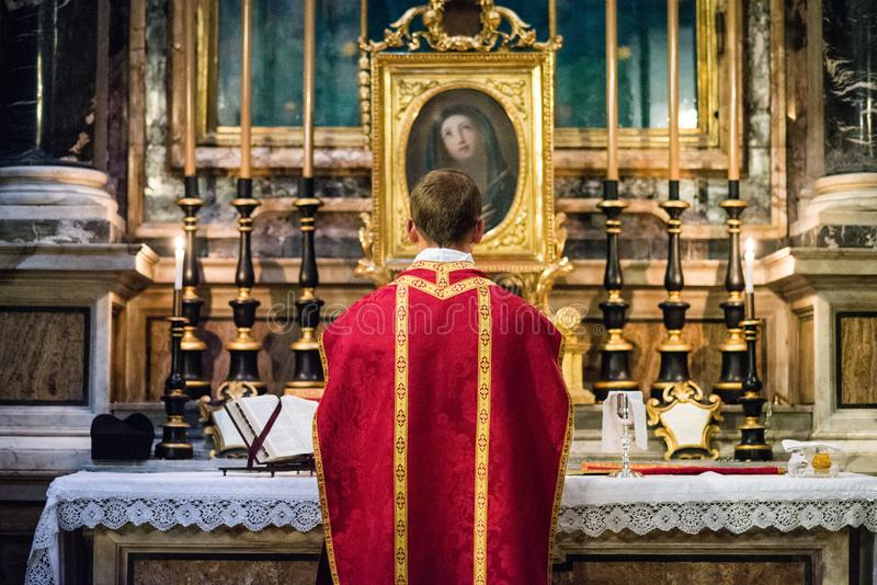 Rome - 7 September 2017 - celebration of the Holy Mass vetus ordo, Mass in Latin, in the days of the pilgrimage stock image