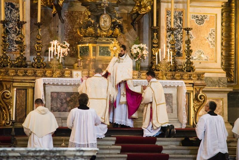 Rome - 7 September 2017 - celebration of the Holy Mass vetus ord stock photos