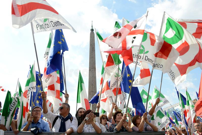 ROME - September 30, 2018: Demostrators and flags royalty free stock photography