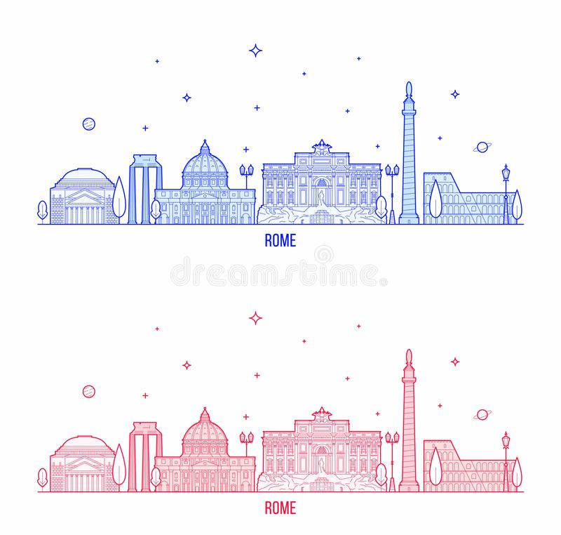 Rome skyline Italy city buildings vector. Rome skyline, Italy. This illustration represents the city with its most notable buildings. Vector is fully editable stock illustration