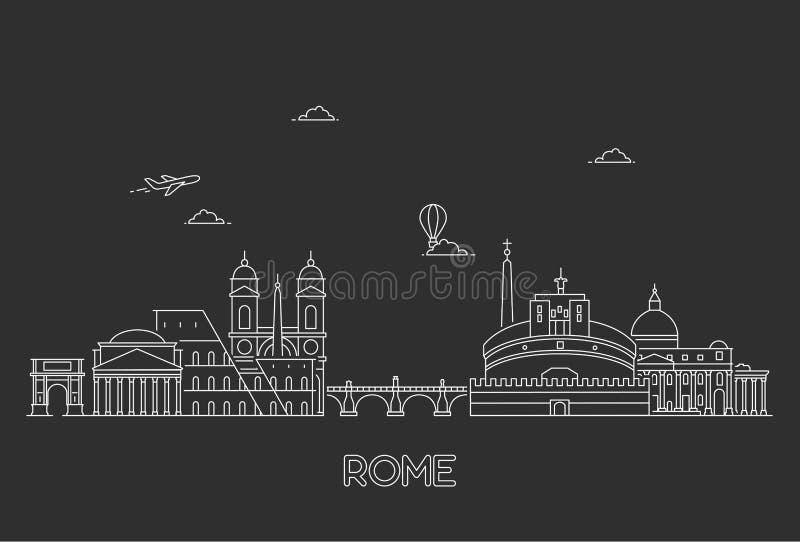 Rome skyline, Italy. Line art style vector illustration vector illustration