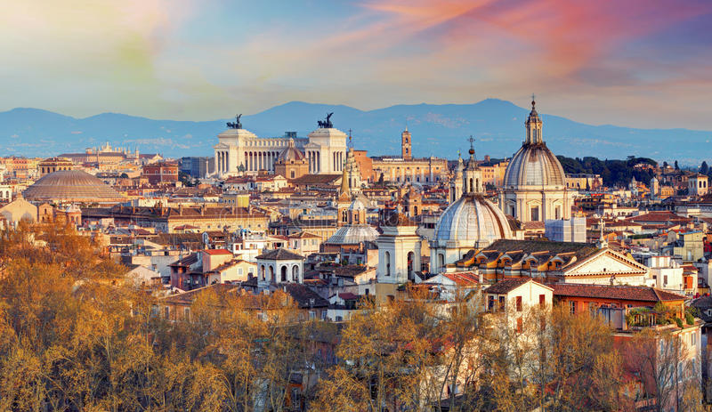 Rome - skyline, Italy. At sunset royalty free stock photography