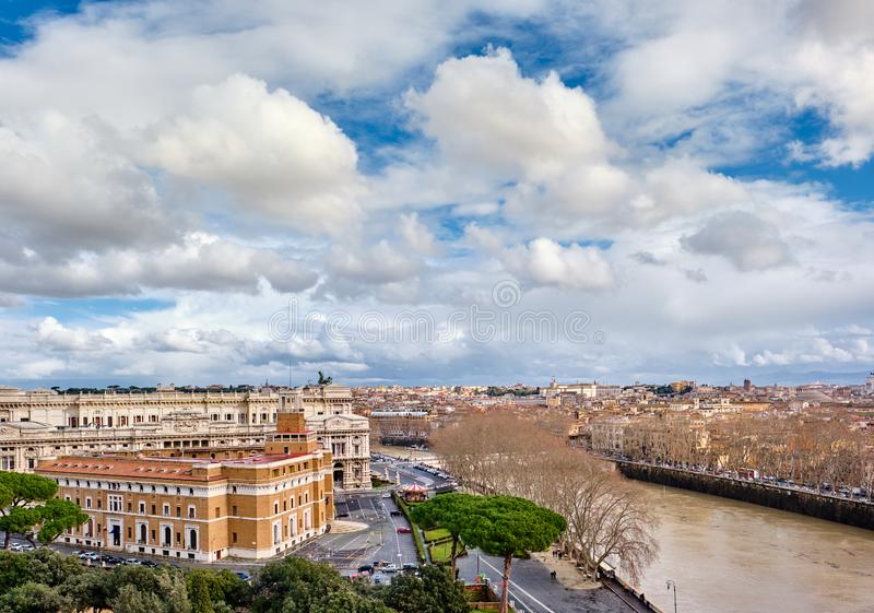 Rome skyline in Italy. Rome skyline view from Castle of the Holy Angel Castel Sant`Angelo in Italy royalty free stock image