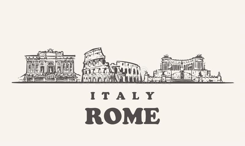 Rome skyline, Italy vintage vector illustration, hand drawn buildings. Of Rome on white background vector illustration