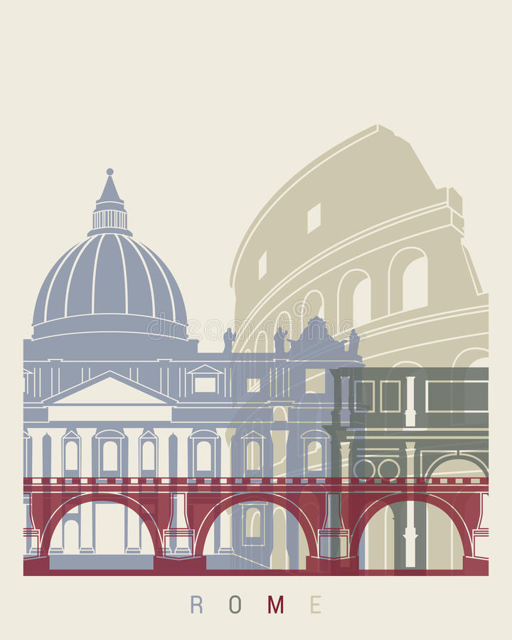 Rome skyline poster stock illustration