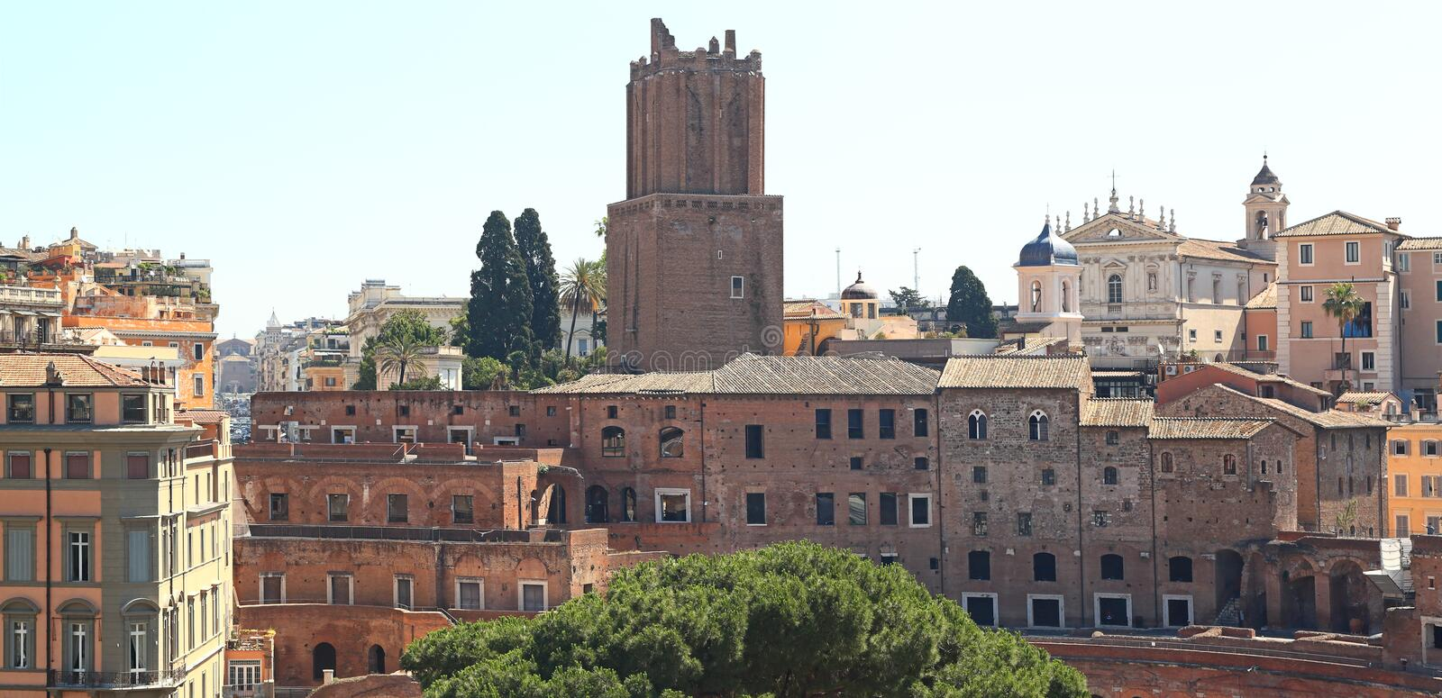 Rome Skyline, Italy. Rome Skyline with the Torre delle Milizie stock photos