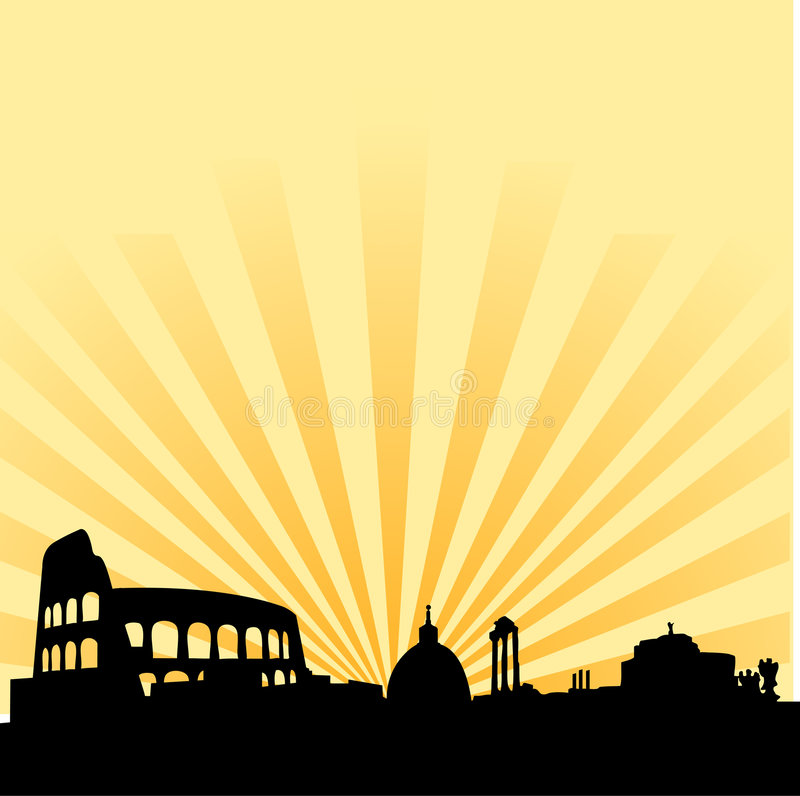 Rome skyline vector silhouette. Vector illustration of skyline of rome with saint peter church in vatican city and the coliseum, with also roman forum and saint