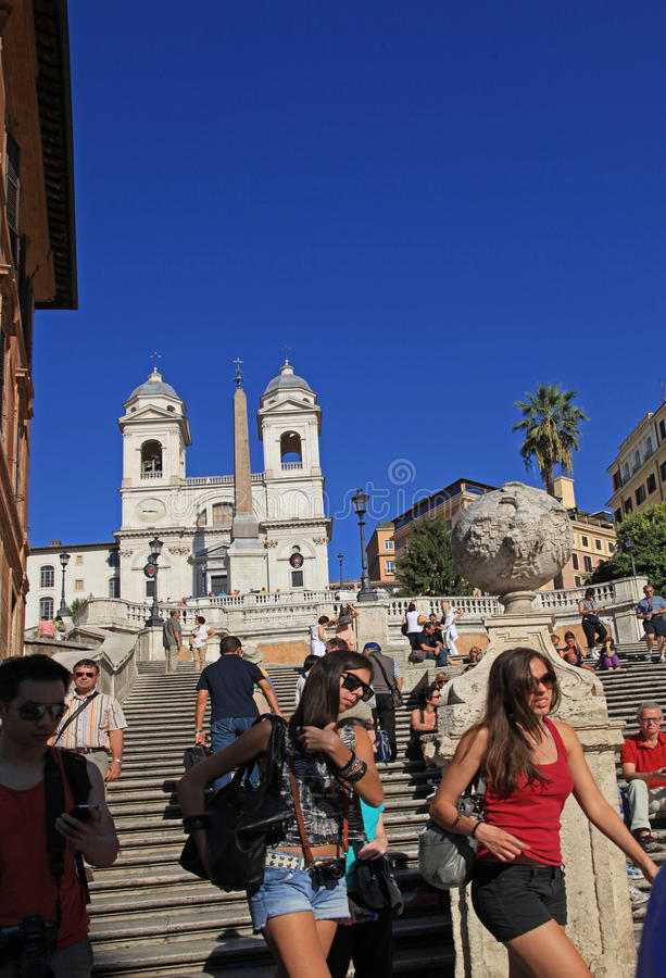 Download Rome, Spanish Steps editorial photography. Image of crowded - 28488602