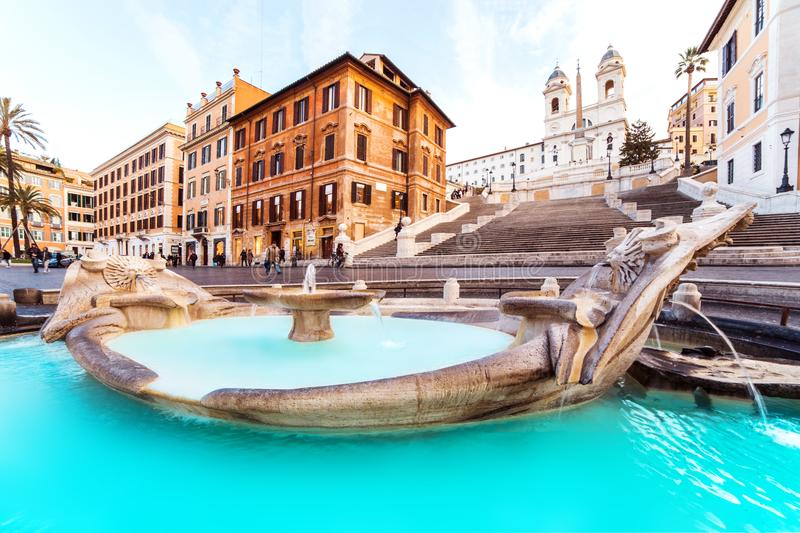 Rome Spanish Steps are a famous sightseeing in Rome and Italy. stock images