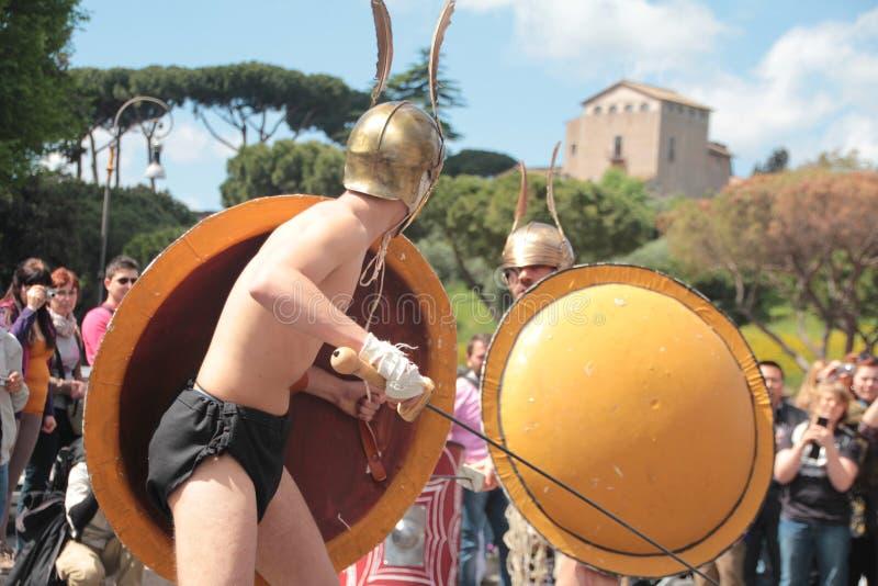 Rome ståtar gladiatorer royaltyfri fotografi