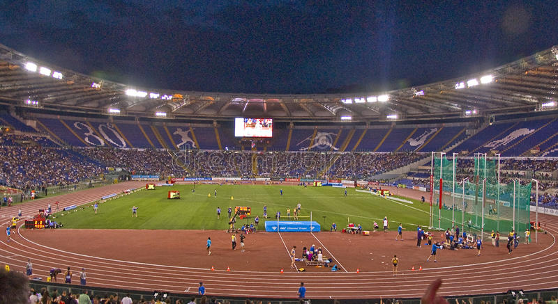 Rome stadium. View of the rome stadium at golden gala track and field in rome stock images