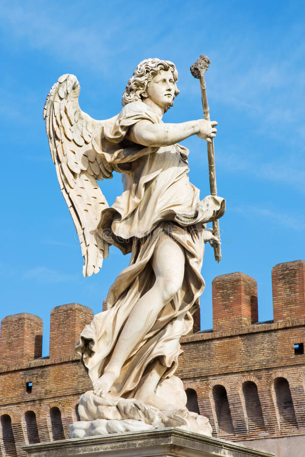 Rome - Statue of angel with the sponge by sculptor Antonio Giorgetti from Angel's Bridge in morning. ROME, ITALY - MARCH 27, 2015: Statue of angel with the stock images