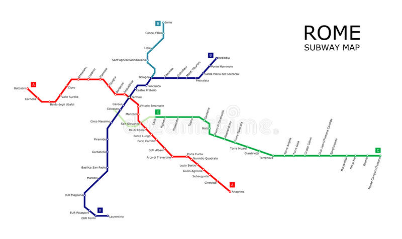 Rome subway. Map with lines and stations stock illustration