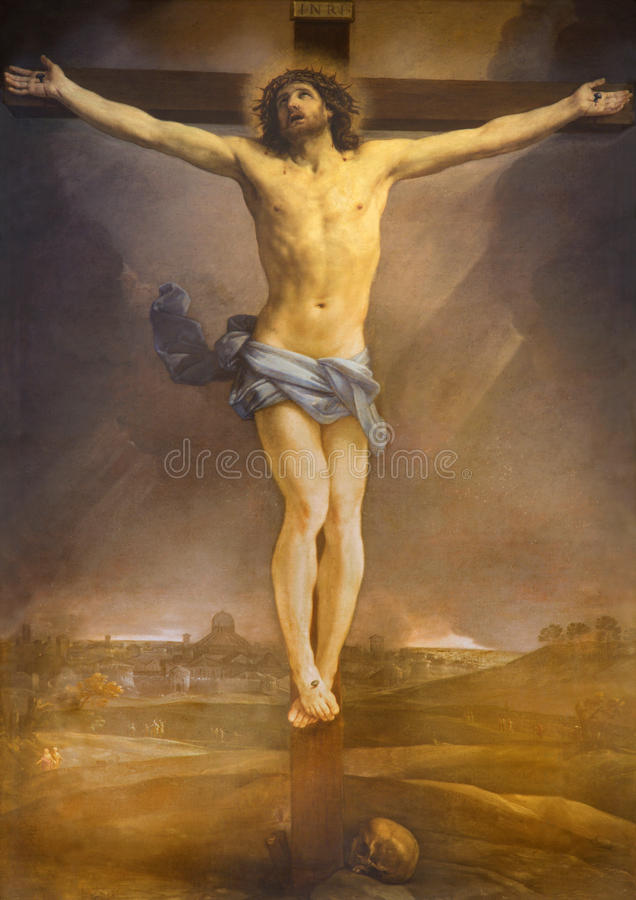 Free Rome - The Altarpiece Of Crucifixion By Guido Reni (1640) In High Alar Of Church Chiesa Di San Lorenzo In Lucina. Stock Image - 66023091