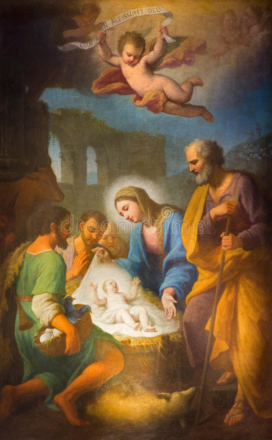 Free Rome - The Painting Of Nativity In Side Chapel Of Basilica Di Santa Maria In Trastevere By Stefano Parrocel (1696 - 1776). Royalty Free Stock Photography - 53599297